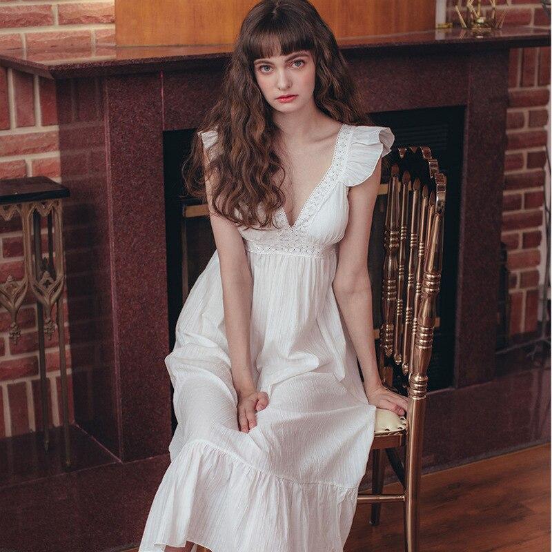 2020 Hot Honeymoon Nightdress Sexy Deep V-Neck Sleeveless Lace Cotton Women Summer Night Wear Home Dress Elegant Nightgown