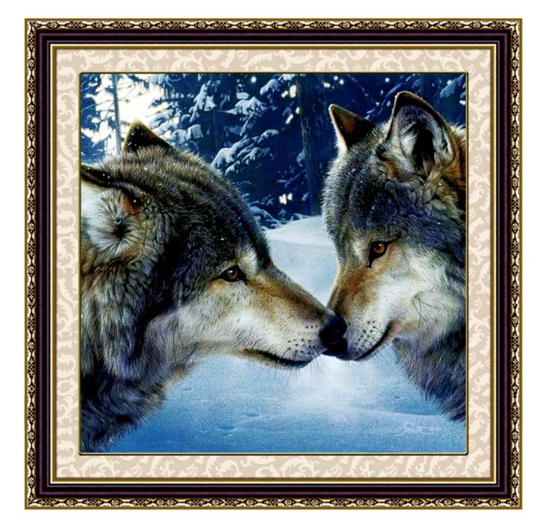 Набор для рукоделия «сделай сам», Набор для вышивки волком, Набор для вышивки волком и животными, Набор для вышивки крестиком, декоративная живопись