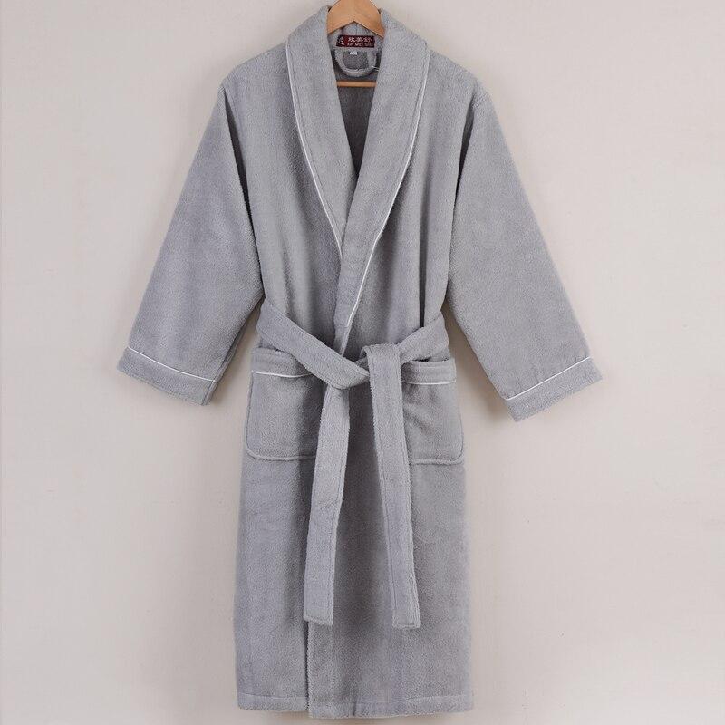 Мужской банный халат, мужская рубашка, хлопковая Длинная утепленная теплая одежда для сна, женская ночная рубашка, мужское домашнее полотен...