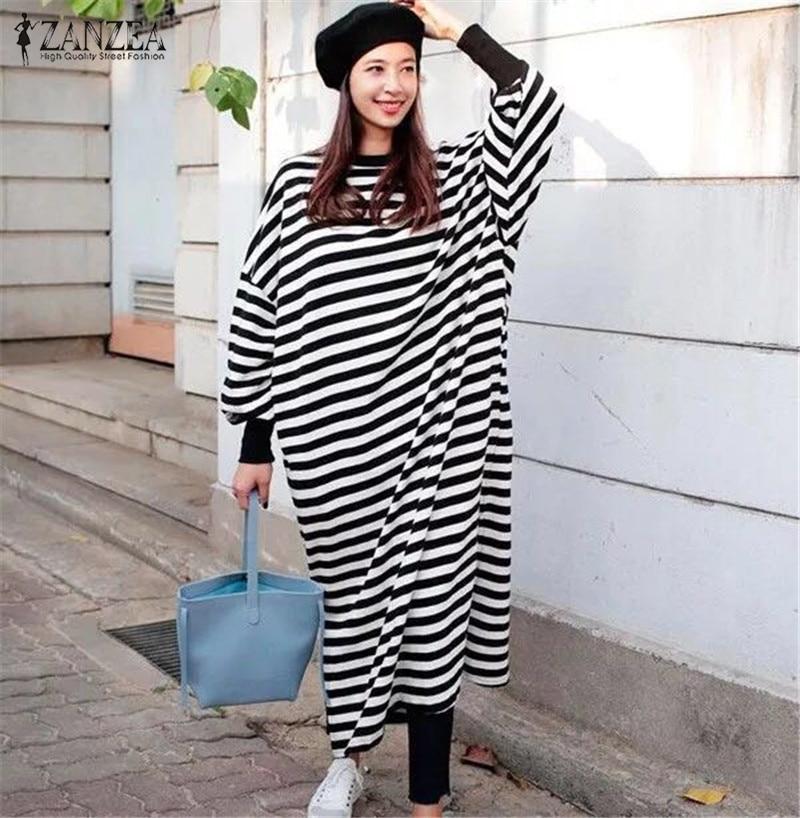 ZANZEA vestido de talla grande a rayas para mujer 2020 Vintage manga Maxi vestido largo vestido de mujer Split Sundress Casual Femme túnica suelta