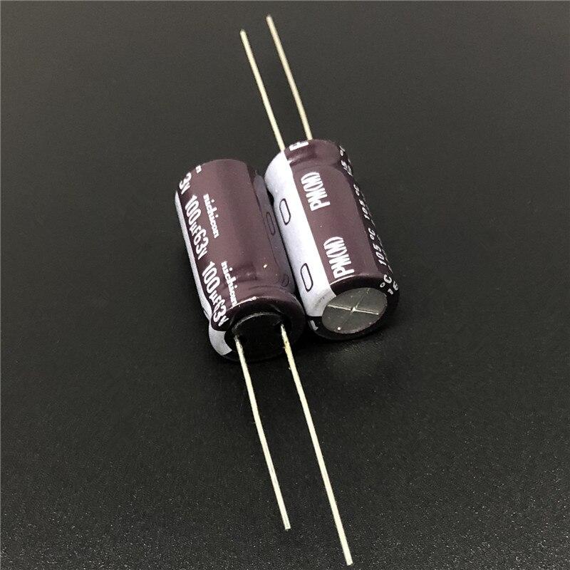 10pcs/100pcs 100uF 63V NICHICON PM Series 10x20mm 63V100uF Super Low Impedance Long Life Aluminum Electrolytic capacitor