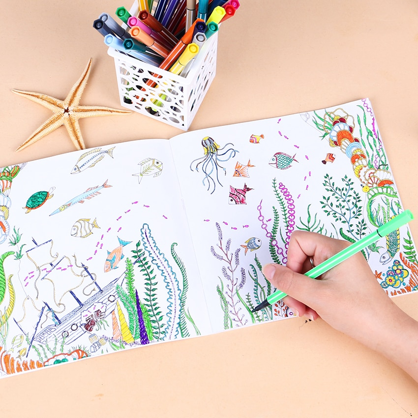 1 PC 24 Pages Lost Ocean Inky Adventure Coloring Book for Children  Relieve Stress Kill Time Painting Drawing Art Book