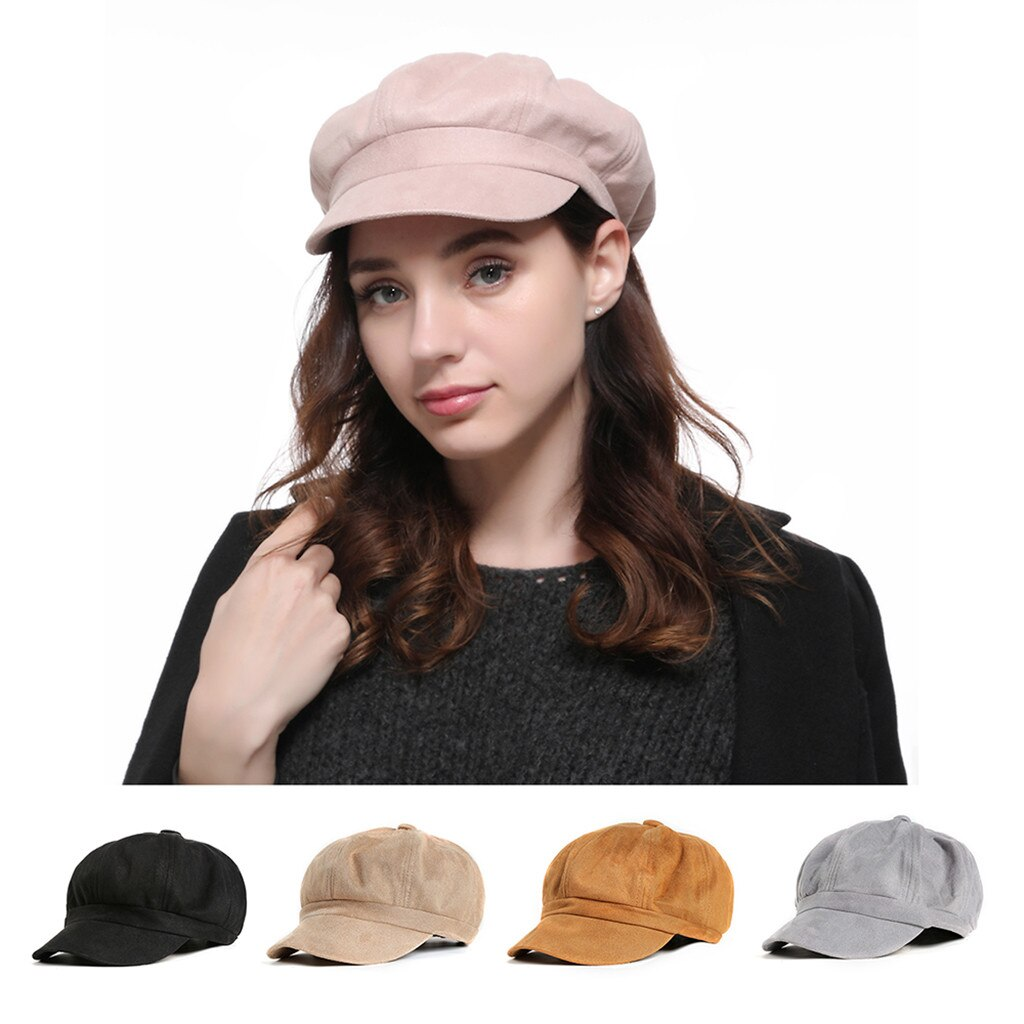 Boina de otoño octogonal para mujer, gorra con estilo Unisex, cola de caballo desordenada, bollos, camionero, Gorra lisa con visera de béisbol, sombrero de papá Z425
