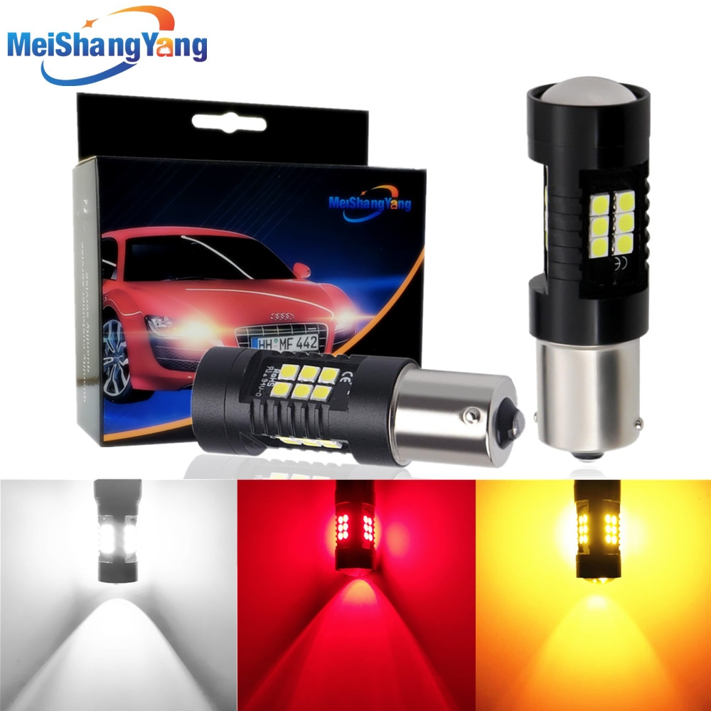 2Pcs 1156 BA15S Led Bulb P21W Led R5W 21 3030SMD Auto Light Bulbs Reverse Lamp White Yellow Amber Red 12V Car Turn Signal Light