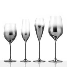 Verre à vin galvanoplastie pieds hauts   Couleur métal classique, placage cristal argent coupe de champagne pour décoration gobelets à pied