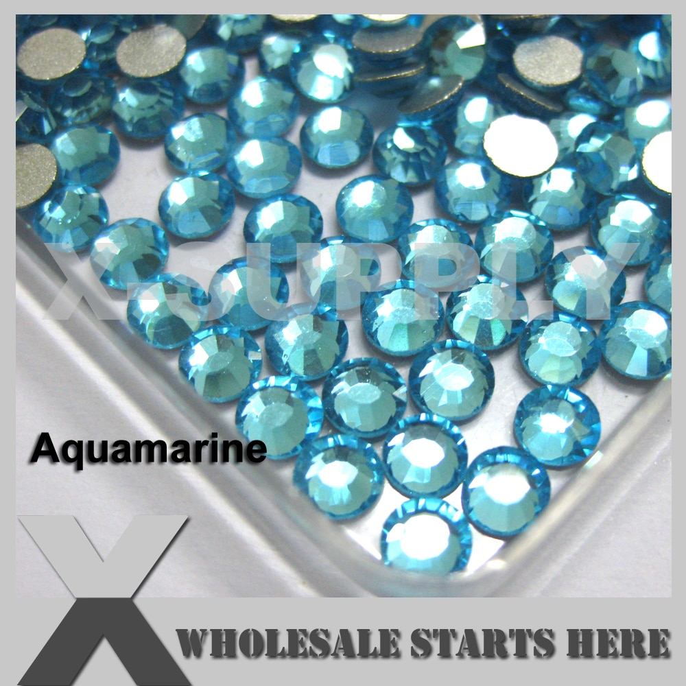 (SS3-SS20,100 Bruto/Lote) Aquamarine Plano Voltar Strass, Prata Malogrado Voltar, Não Cola, usado Para A Arte Do Prego, Caixa Do Telefone, Sapatos