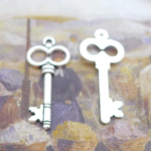 200pcs Fashion key big eyes charms pendant antique silver Jewelry Making earrings bracelet necklace keychain DIY 13*29mm