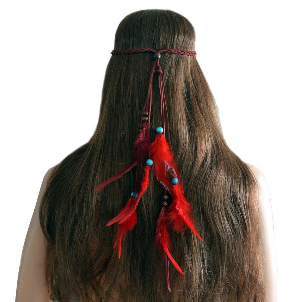3 unids/lote pluma Bohemia Haarband adorno para el cabello diademas bandas de belleza para el cabello diademas mujeres niñas accesorios para corbatas de pelo banda para la cabeza