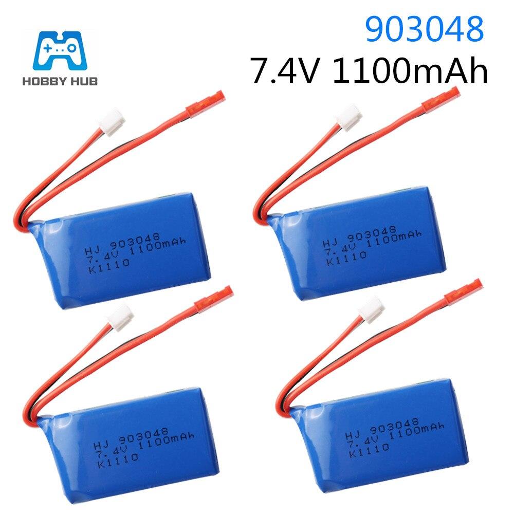 Batterie lipo 7.4V 1100mAh 25c pour Wltoys A949 A959 A969 A979 K929 1/18 HJ 903048 k1110 RC hélicoptère avion voitures bateaux