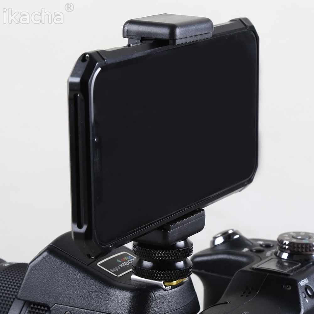 """1/4 """"Suporte Do Telefone Clipe + Hot Shoe Adaptador de Montagem Para Câmera Preto"""