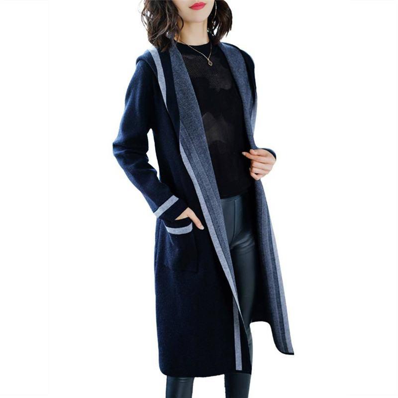 2019 primavera otoño mujeres Slim punto con capucha suéter largo Cardigan Poncho mujer estilo coreano abierto punto Pull Femme K63