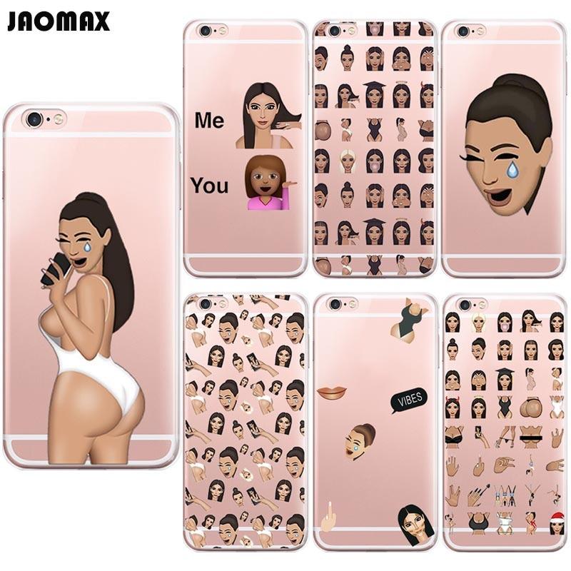 Lustige Weinen Gesicht Kim Kardashian Kimoji Fall Für iPhone 8 8Plus X Xs 6 6s Plus 5 5S 7 7Plus Transparent TPU Silikon Telefon Abdeckung