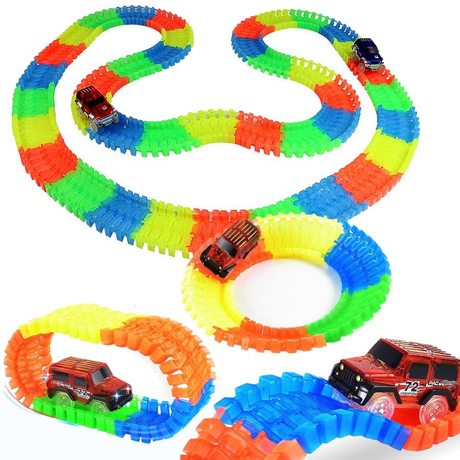 Slot DIY Flex Glowing Electric Race Track LED Light Up Racing Car Funny Bricks Flex Rail Car Vehicles Educational Toys For Kids
