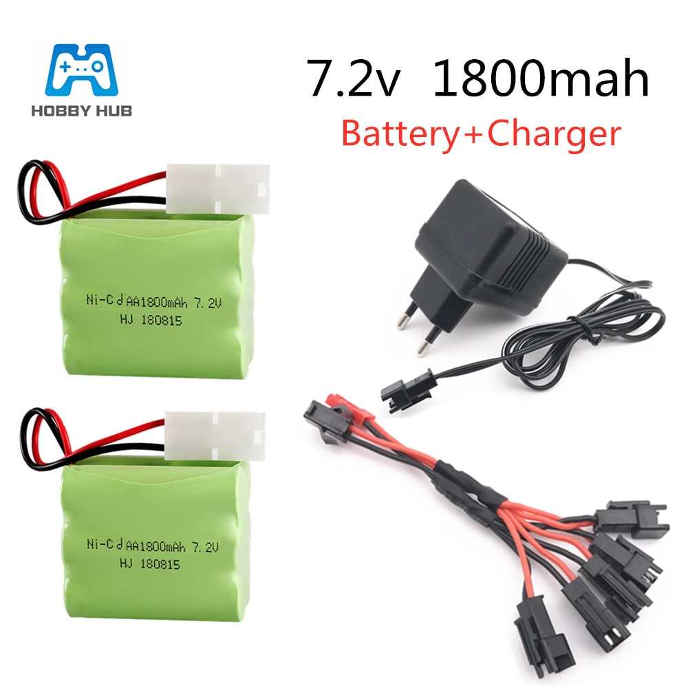 Hobby Hub 7.2v 1800mAh AA NI-CD Battery for Remote Control toys Tank rechargeable battery group High