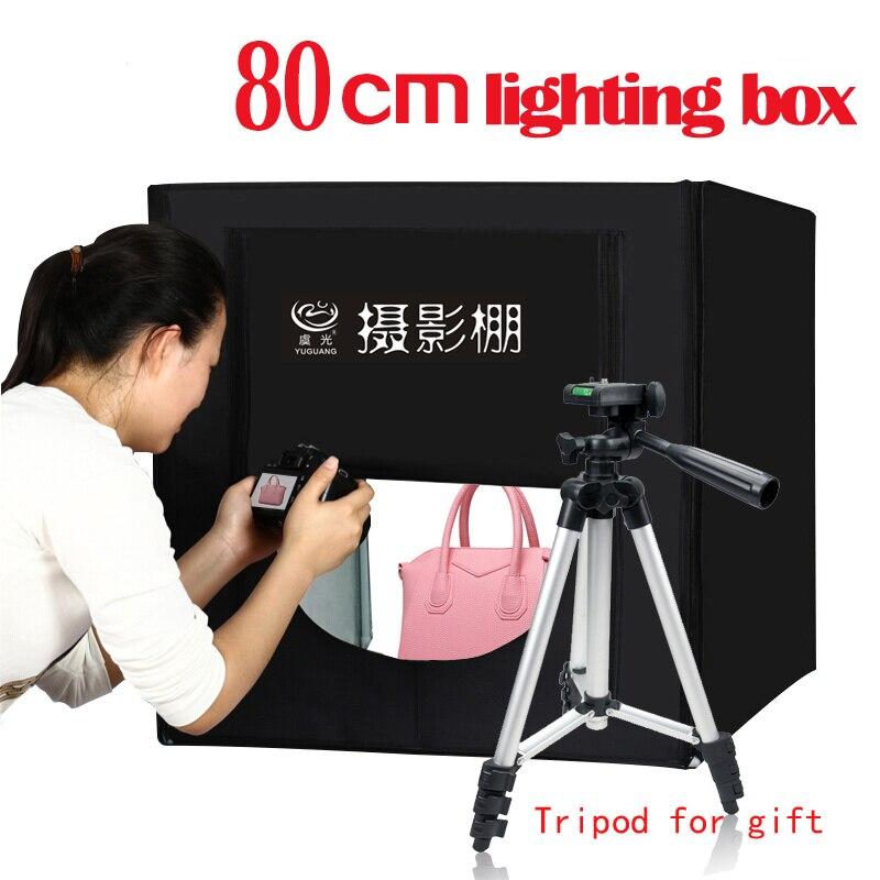 Photo Studio 80*80cm LED Lighting box Photographic Tent Kit Softbox +Portable Bag+AC Adapter Photo Shoting with Tripod