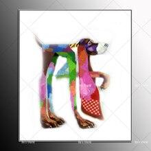 Autocollants muraux de dessin animé   Peinture à lhuile abstraite de dessin animé, chien, vêtements lunettes, chambres pour enfants, salon, chambre à coucher, café