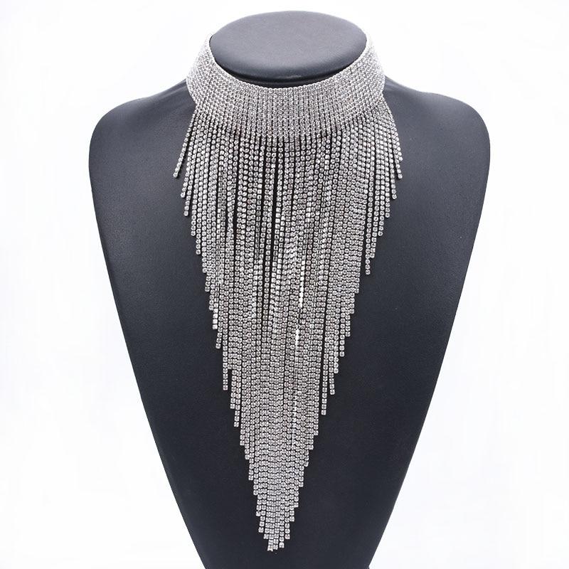 Luxury Full Rhinestone Chain Tassel Choker Necklace Women Maxi Long Necklace Pendants Jewelry Boho Ethnic Indian Large Necklace