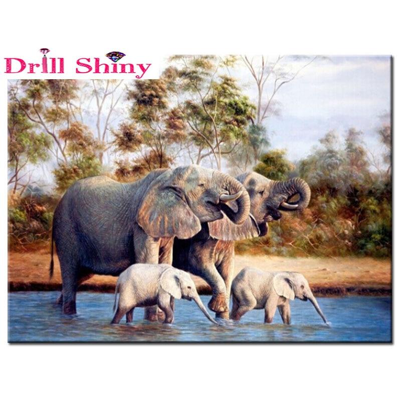 5D DIY Diamond Painting Animal Elephant Embroidery Full square Mosaic Rhinestone Paintings Cross Stitch Home Decor Needlework