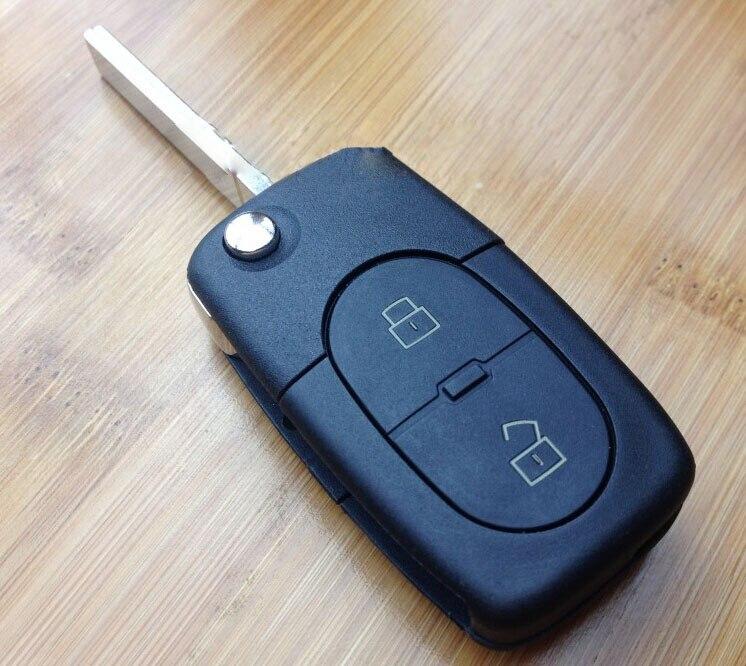2 botones de reemplazo Flip control remoto plegable carcasa de la llave para Audi A4 A6 con CR2032 posición de la batería Fob Key Cover