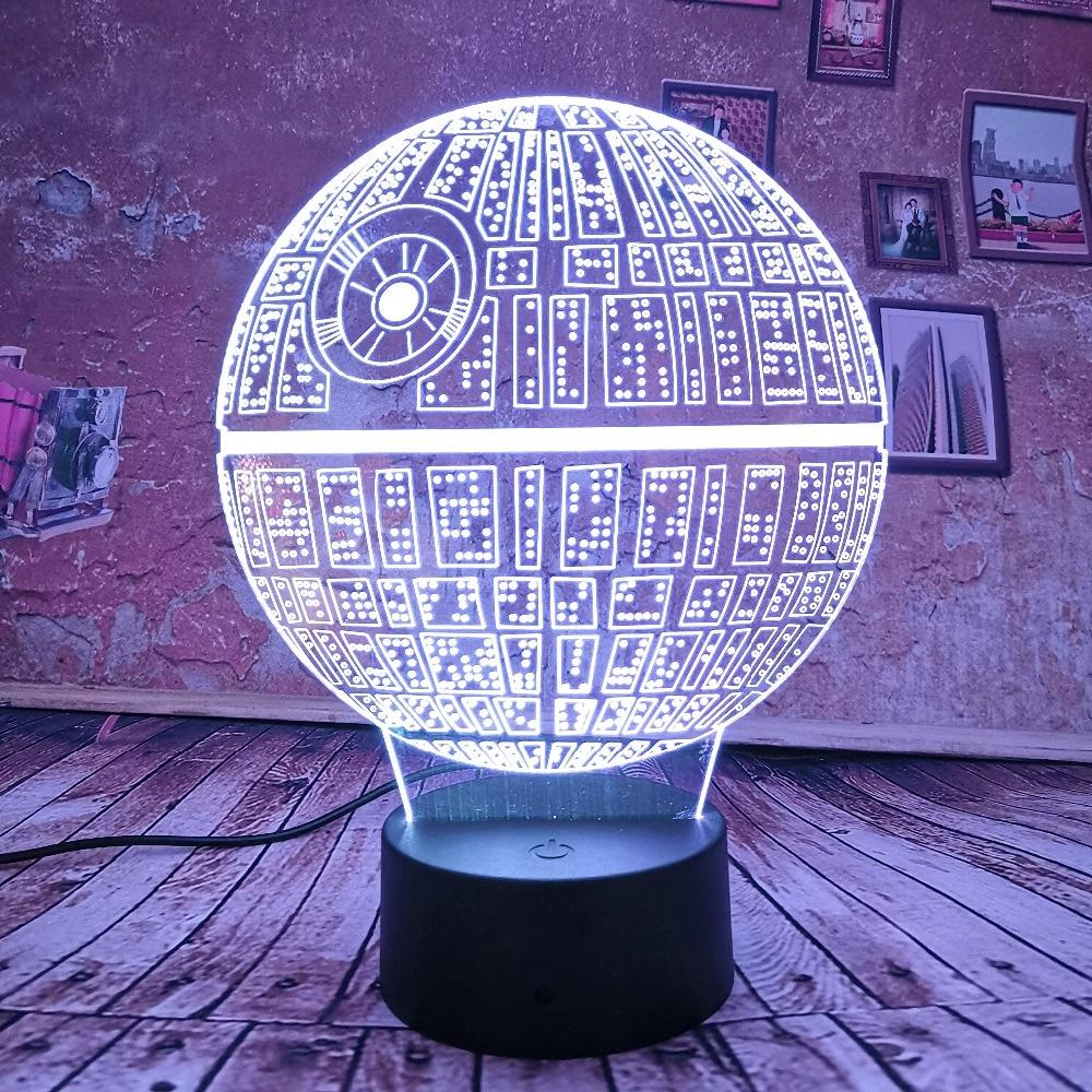 Lámpara de Estrella de la muerte de La Guerra de Las Galaxias de luz nocturna 3D para niños, lámpara de escritorio USB táctil, lámpara de mesa con degradado de 7 colores, envío directo