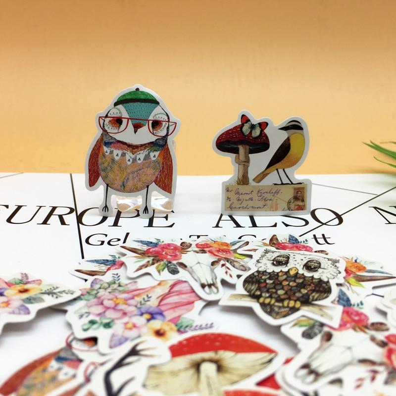 9X4pcs Kawaii 일본식 크리 에이 티브 귀여운 올빼미와 사슴 스티커 자기 만든 버섯 종이 스티커