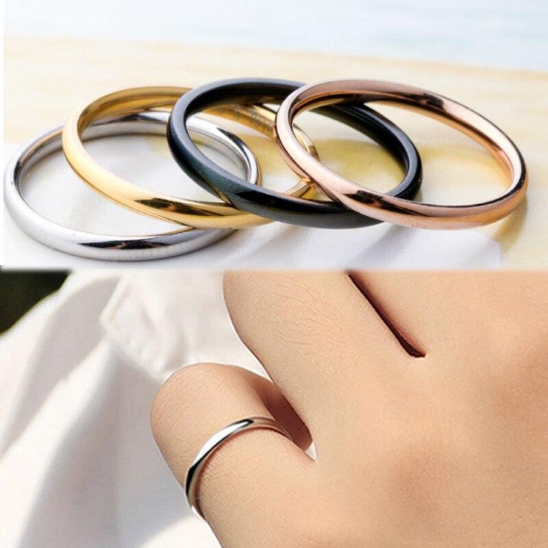 LNRRABC 1 unidad aleación caliente 4 colores Unisex aniversario parejas anillos titanio acero Simple boda mujeres hombres alergia regalo Jwelry