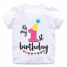 ZSIIBO Girl Happy Birthday 1-7 Letter Print T-shirt Baby Summer Cute Children Funny Clothes Birthday Gift Digital T-shirt