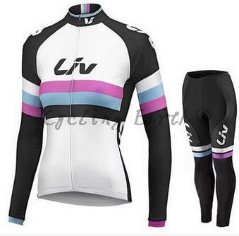 LIV women New team long sleeve cycling clothes bike cycling jersey bib pants sports kit ropa maillot ciclismo