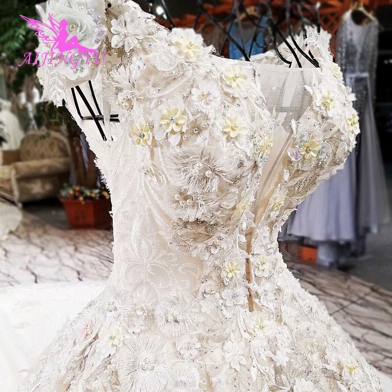 AIJINGYU مثير فستان الزفاف البلد الأبيض الصغير رخيصة للبيع الهندي حجر الراين الشتاء ثوب البرتغالية مصمم ملابس الزفاف