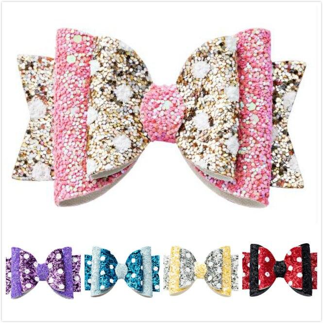 Thumblina Cute Dot Princess Hairgrips Glitter Hair Bows with Clip Dance Party Bow Hair Clip Girls Hairpin Hair Accessories