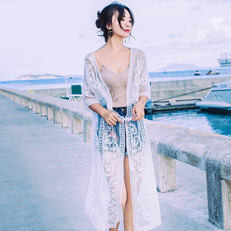 X-long mujeres Beach Cover Up Coats Diseño de Moda de verano Kimono Cardigan de algodón de encaje largo suelta blusa de tela a prueba de sol blanco