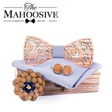 Pajarita de madera mancuernas set pajarita de madera para hombres, corbatas de boda, pañuelo cuadrado de bolsillo, corbata T297