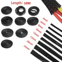 10M Black 2/4/6/8/10/12/15/20/25mm Wire Cable Protecting Cable Sleeve PET Nylon Braided High Density Sheathing Insulation