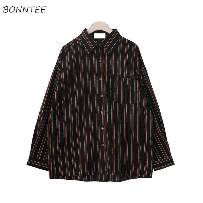 Shirts Women Elegant BF Couple Clothes Temperament Loose Leisure Striped Womens Shirt Korean Style Turn-down Collar Pockets Chic