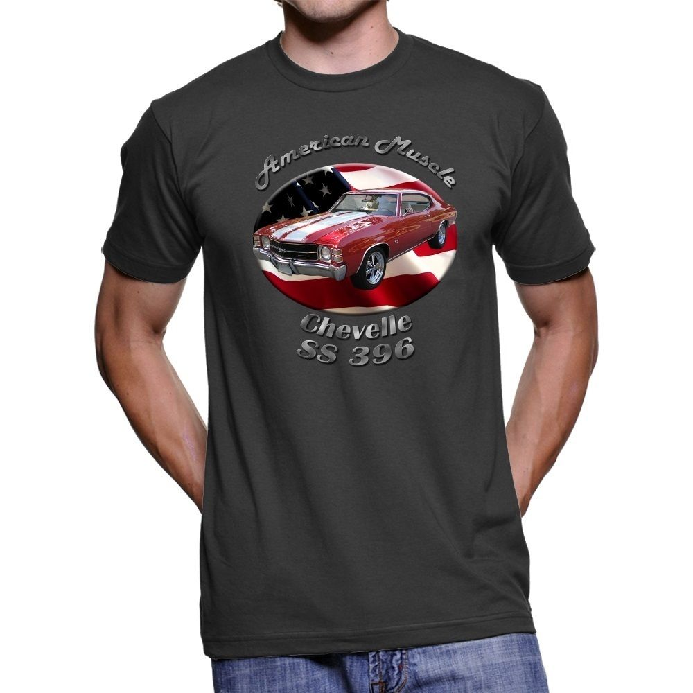 Verano 2019 camiseta negra de manga corta de talla grande Chevy Chevelle SS 396 American Muscle para hombre