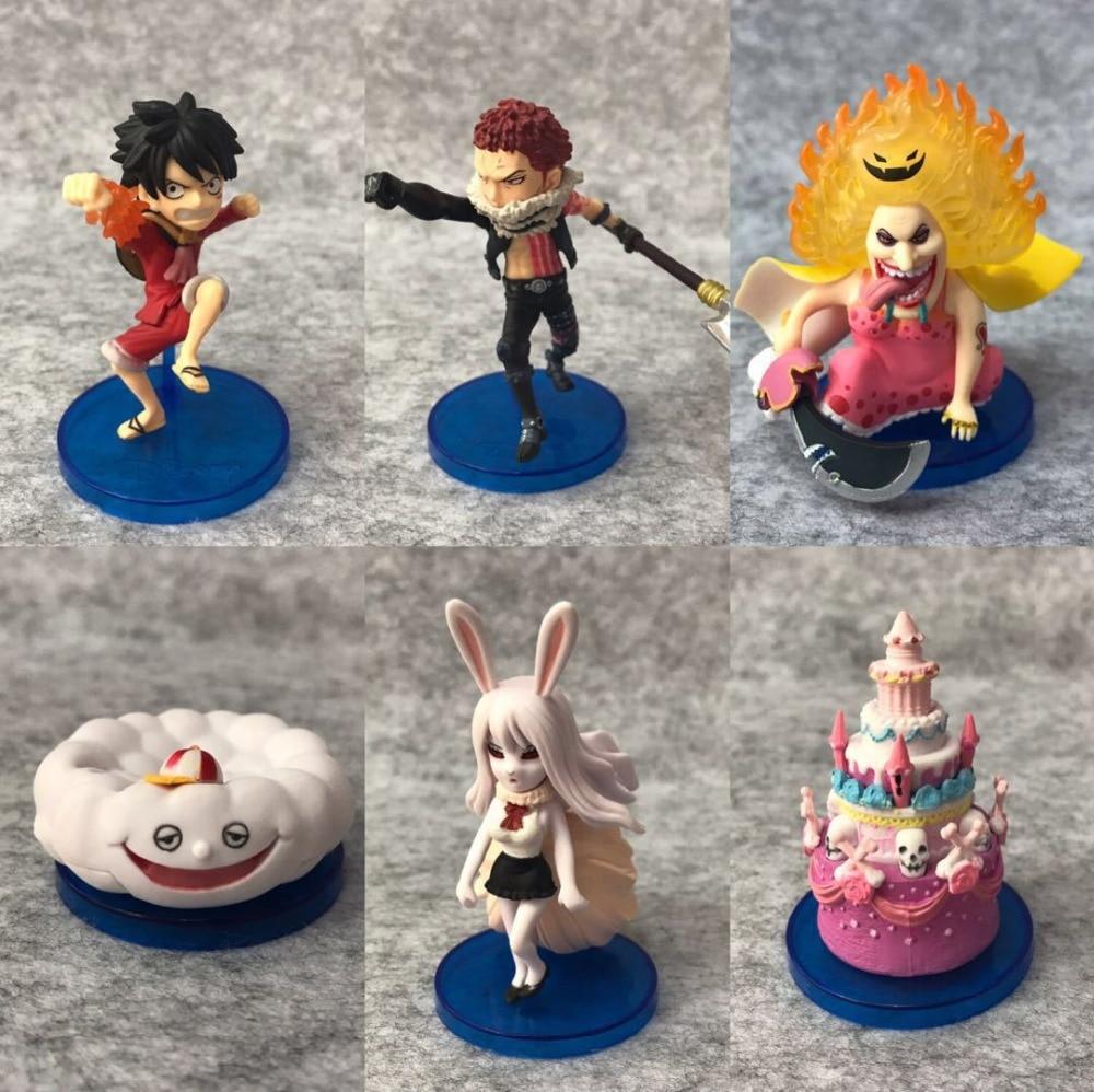 6pcs One Piece Monkey D Luffy Homie Zeusu Charlotte Linlin BIG MOM Charlotte Katakuri Carrot Figure Figurine Toys