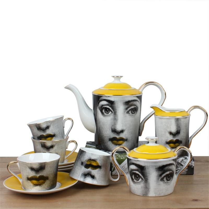 Itália copo de osso china conjunto de xícara de café jarro de leite retro açúcar latas porcelana pote de chá do vintage decoração da sua casa