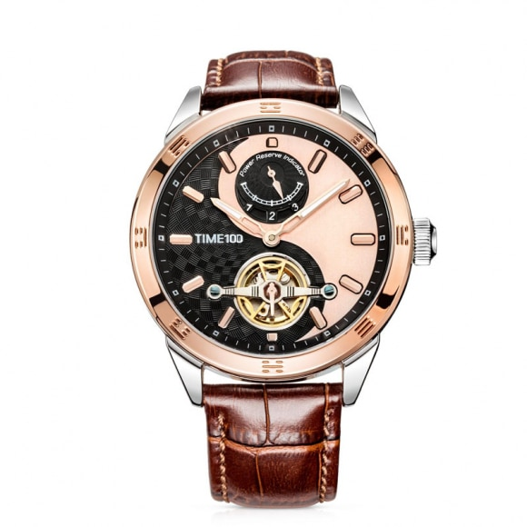 Time100 Top Brand Unisex Skeleton Mechanical Watches For Men Women waterproof Taichi Pattern Sun Moon Phase Black Leather Strap enlarge