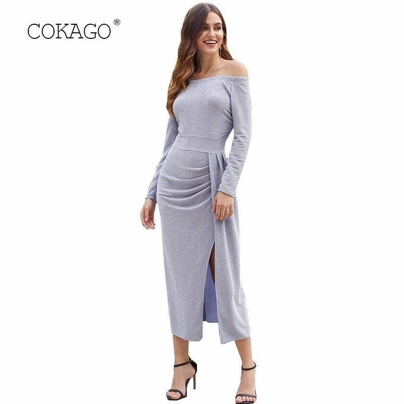 COKAGO alta cintura vestido largo Otoño Invierno 2019 hombro manga larga mujeres vestido elegante Split fiesta mujer noche