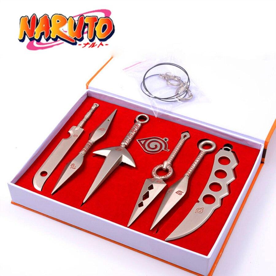 7Pcs/Sets Japan Anime Naruto Weapons Pendant Ninja Cosplay Props Hand Sword Kunai Shuriken Weapons Top Quality PVC Fashion Gift