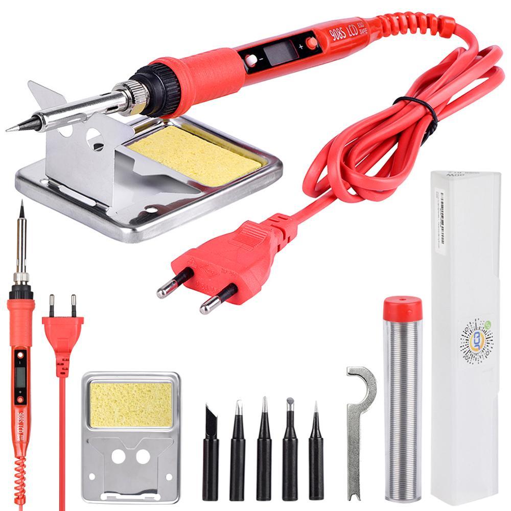 JCD soldador eléctrico 220V 80W LCD temperatura ajustable soldadura estación elektrik puntas de pistola para soldar kits herramienta