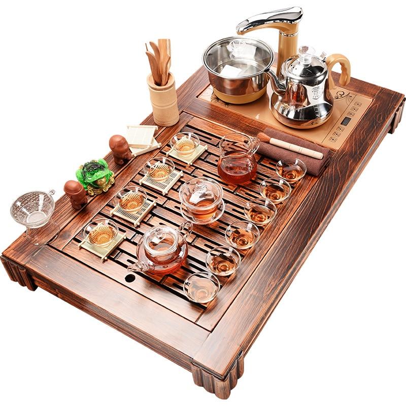 خزانة جميلة المنزلية التلقائي طقم شاي أربعة وحدة من مجموعة كاملة من الخشب من البحر الأرض النار طاولة شاي الخشب