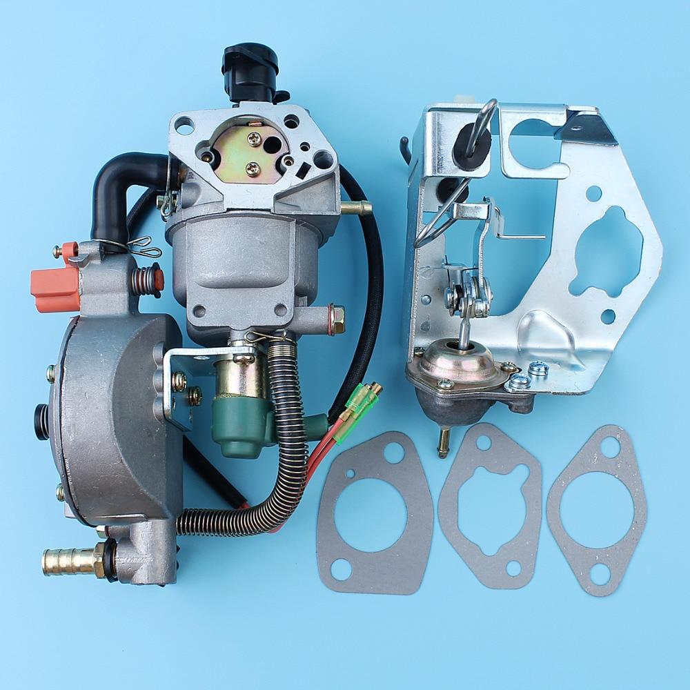 Carburetor Auto Choke Pump Dual Fuel Conversion Kit For Honda GX390 GX340 188F 4.5-5.5KW Generator Engine LPG/CNG/Gasoline Carb carburetor oil sensor switch insulator choke rod filter kit for honda gx390 13hp 188f gx340 11hp generator power engine