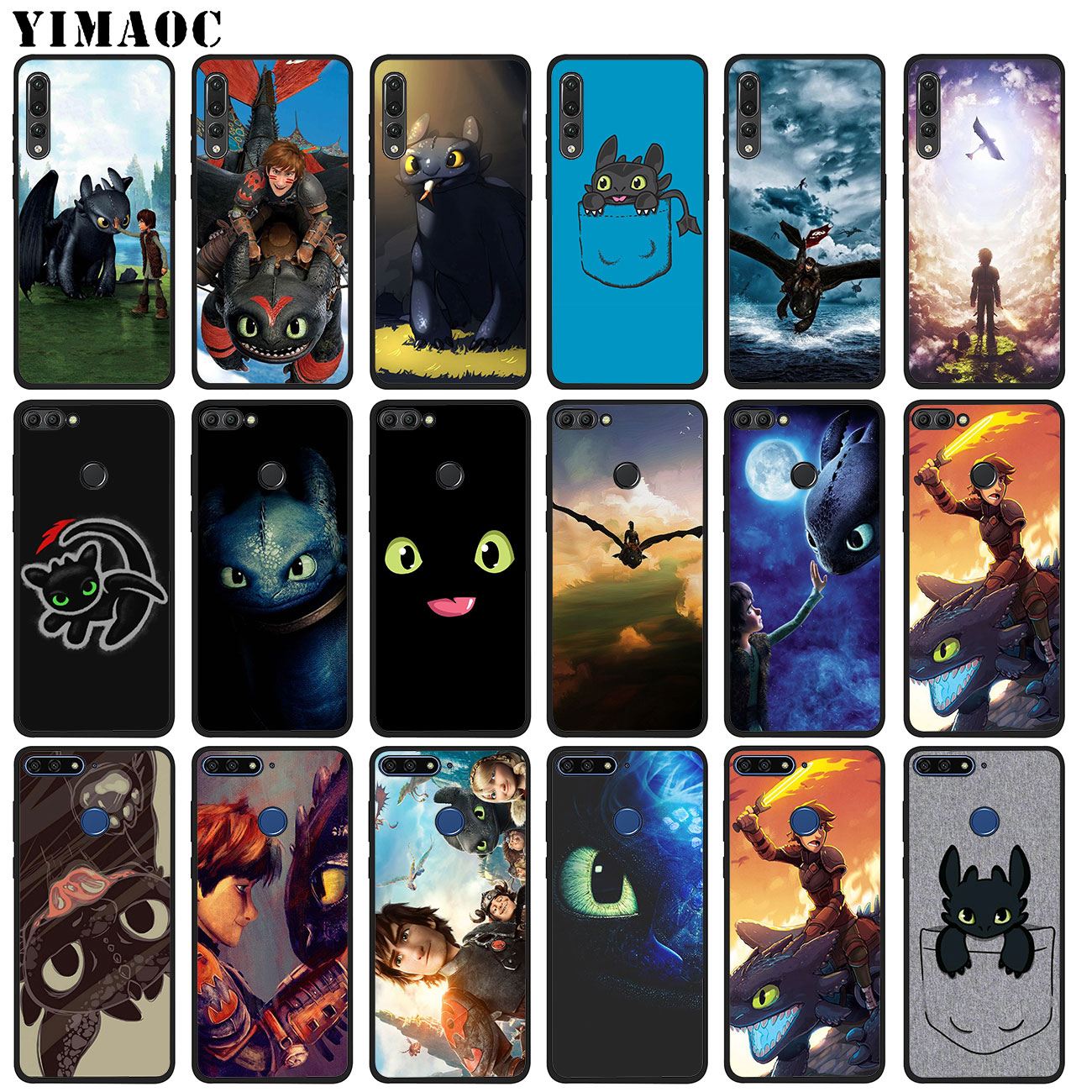 YIMAOC Zahnlos Zug Ihre Drachen Weichen Silikon Telefon Fall für Huawei P20 Pro P10 P9 P8 Lite Mini 2017 P smart Z 2019 Abdeckung