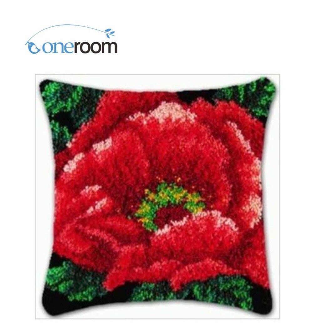 BZ61 rojo flor gancho alfombra Kit de almohada DIY pendientes ganchillo hilo Mat Kit para alfombra de aguja de lengüeta piso