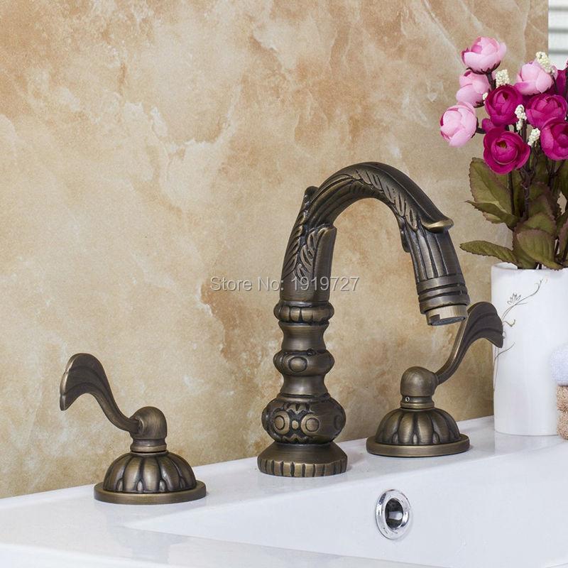 صنبور حوض نحاسي عتيق ، 3 قطع ، خالي من الرصاص ، تصميم فريد ، ذراع مزدوج ، تركيبات حمام بمقبض نحاسي مزدوج ، 100%