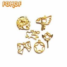 Sakura-ailes dange Kawaii   Pendentif étoile à nœud papillon, résine UV bricolage, bijoux fabrication magique, baguette, breloques creuses, accessoires 6 pièces