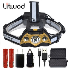 Litwod Z20LC03 XM-L T6 3Led Headlight Super bright led head lamp Personality Headlamp Bat shape Head Flashlight Light Torch