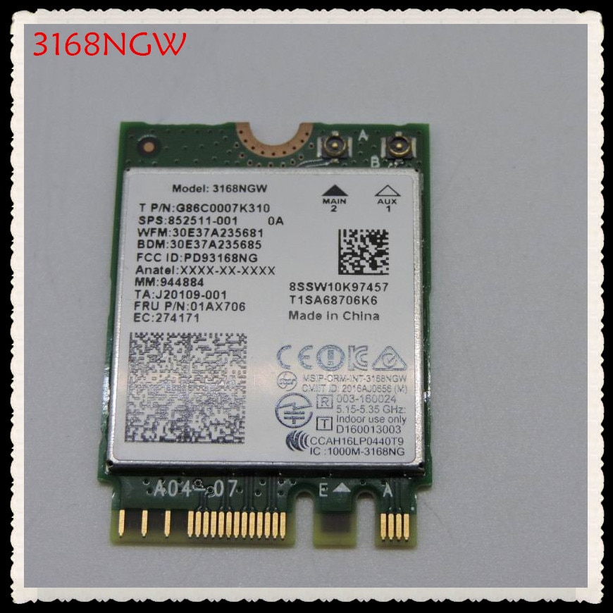 Nueva marca para Intel 3168NGW Dual band Wireless-AC 3168 3168 AC 433Mbps intel3168 bluetooth 4,2 802.11ac WiFi tarjeta de red
