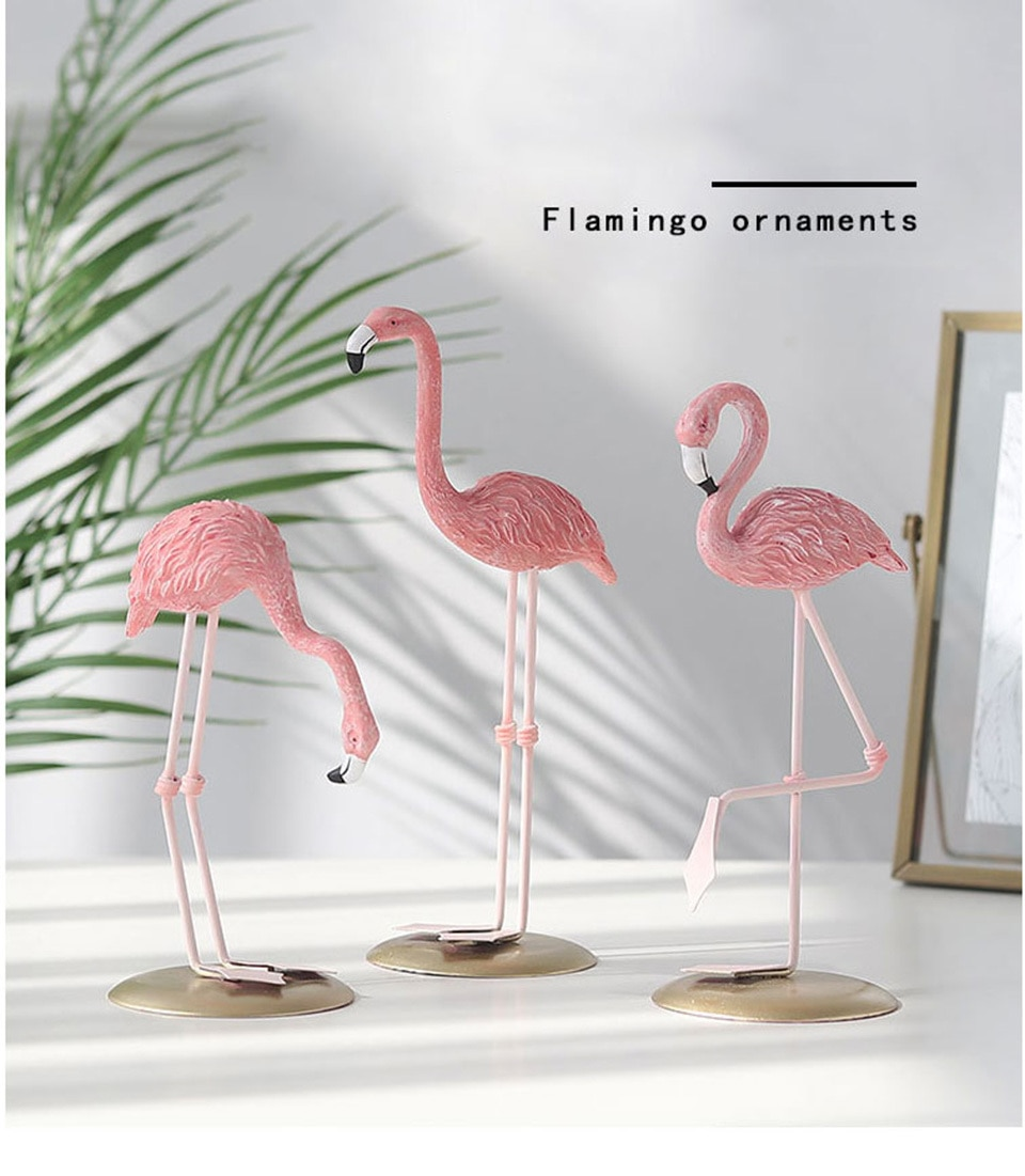 mylb 1pcs Ornament Home Garden Decoration Living Room Decoration Pink Flamingo Cute Animal Shape Resin